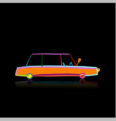 retro car isolated on black sketch for your vector image