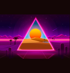 retro wave desert neon cover with oasis and palm vector image