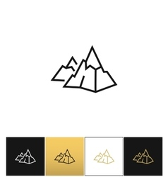 Rock logo or mountain stone linear icon vector