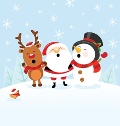 Santa Snowman Reindeer Celebrating Christmas vector image