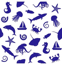 Seamless pattern with sealife silhouettes vector
