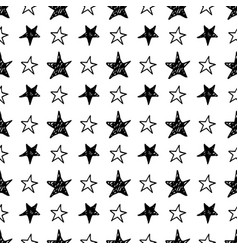 seamless star pattern hand drawn sketch stars vector image