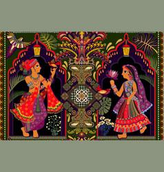 Seamless wallpaper indian motif man and vector