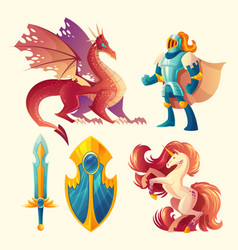 Set fantasy game design objects vector