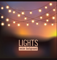 Set glowing string lights on abstract evening vector