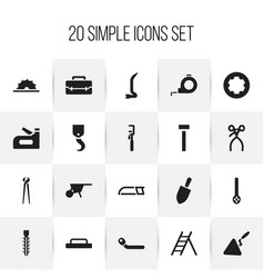 Set of 20 editable tools icons includes symbols vector