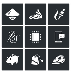 Set of Cheap Labor Icons Shoes vector image