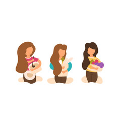 Set of flat cartoon home affairs young mom vector