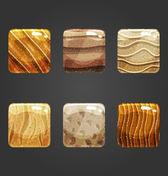 Set of shiny sand square button vector