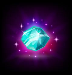 Shining blue diamond gemstone slot icon for vector
