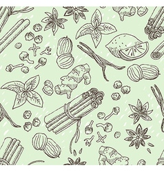 Spice seamless hand-drawn background vector