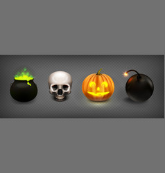 stock set halloween isolated vector image