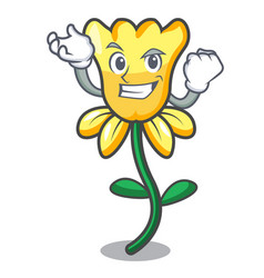 successful daffodil flower character cartoon vector image