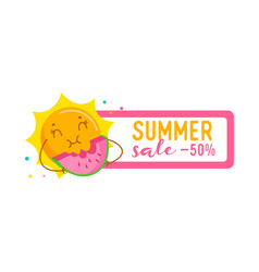 summer sale ad banner with funny sun enjoying vector image