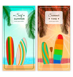 surfing resort vertical banners vector image