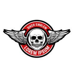 Template emblem racer club skull vector