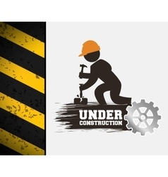 Under construction poster worker hammer gear vector