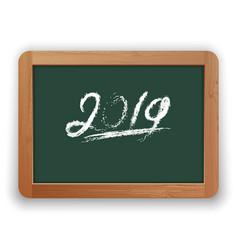 Underline 2019 chalk calligraphy on green vector