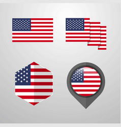 united states of america flag design set vector image