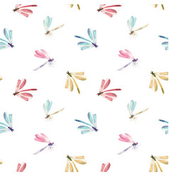 watercolor dragonfly pattern vector image