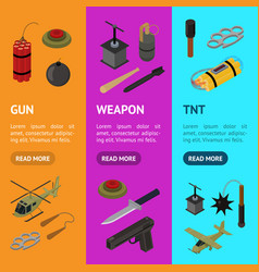 weapons 3d banner vecrtical set isometric view vector image