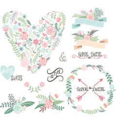 Wedding Floral set Labels Ribbons Hearts Arrow vector