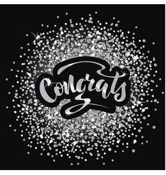With hand lettering congrats vector