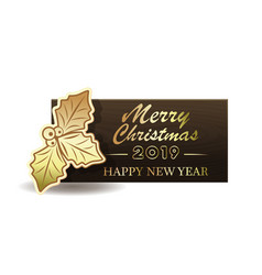 wooden christmas banner for new year 2019 vector image