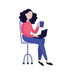 young woman with laptop and cup of hot drink vector image