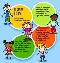 Cartoon-kids-and-color-circles vector image