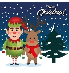 greetind merry christmas with elf reindeer vector image