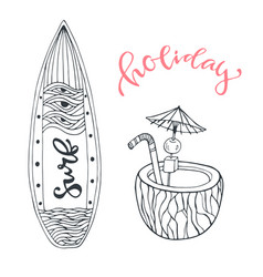 Icon set summer beach vacation with surfboard and vector