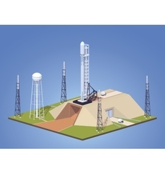 Modern space rocket on the launch pad vector image vector image