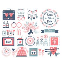 rustic hand drawing wedding elements set vector image