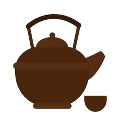 Stovetop whistling kettle kitchen teapot flat vector image