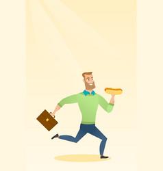Business man eating hot dog vector