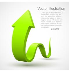 Green wavy arrow 3D vector image vector image