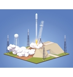 Launch of the modern space rocket vector image