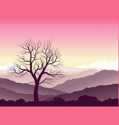 purple mountain landscape vector image vector image