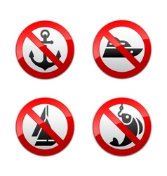 set prohibited signs - fishing vector image vector image