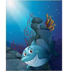 A smiling shark under the sea near the rocks vector image vector image