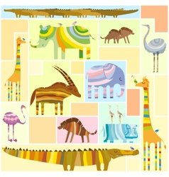 African Animals Tetris Collage Low Color vector image vector image