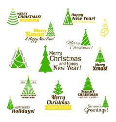 Christmas tree stamps set vector image