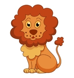 Curly cartoon lion with fluffy mane vector