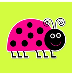 Cute cartoon pink lady bug Isolated vector image