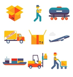 Flat delivery Icons set modern trendy isolated vector image vector image