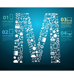 Application icons alphabet letters M design vector image vector image