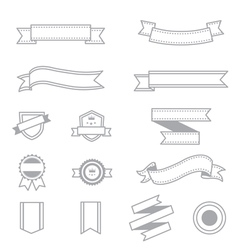 Banner and Ribbon Icons Line Set Of Design copy vector image vector image