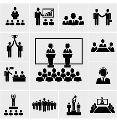 Business conference and presentation icons vector