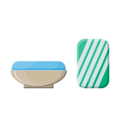 piece of soap in the soap dish vector image vector image